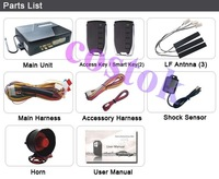 Promotion (Shipping Free)RFID Car alarm system WITH ENGINE START(HOT SALE)