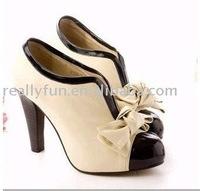 Hot sale Bowknot Embellished Ladies Fashion Shoes,elegant women dress shoes,Fashion High-heeled shoes, beige(Apricot)