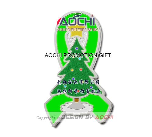 Free Shipping Newest Best Selling High Quality Lymphoma Awareness Christmas Tree Lime Green Ribbon Lapel Pins(China (Mainland))