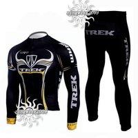 Free Shipping!! WINTER THERMAL FLEECE CYCLING LONG JERSEY+PANTS 2009 TREK-BLACK--SIZE:S-4XL