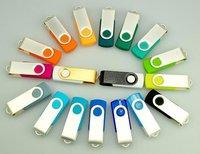Hot! Swivel USB 2.0 Flash Drive Memory Stick Pen Drive Metal Plastic With Key Ring 4GB 8GB 16GB 32GB 64GB