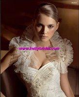 Free shipping  new arrival lace ruffle wedding sleeveless coat / wedding jacket