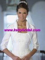 Free shipping  new arrival satin 1/2 short sleeve white  wedding coat /wedding jacket