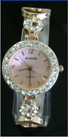 Free shipping 1 pcs / lot new kimio watch ,Quartz Wrist watch GOLDEN COLOR Rounded BRACELET LADIES WATCH  #k206G