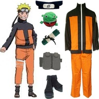 Naruto Shippuden Uzumaki Men's Cosplay Costume and Accessories Set, Free Shipping