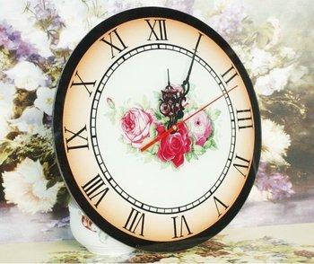 Free shopping,    Rural style  ,   Glass single-sided wall clock   Rose type clock   Roman digital clock