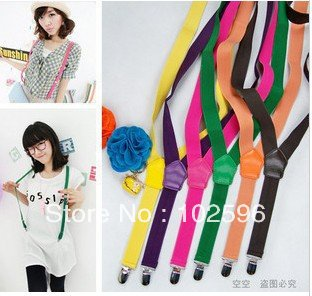 Free Shipping women Elastic Clip-on Solid color Braces Suspenders,candy color suspenders,width 2.5cm,12colors,20pcs/lot(China (Mainland))