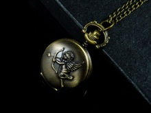 Free shipping&wholesale Christmas gift J075 Angel Cupid Brass Tone Round Pocket WATCH Necklace