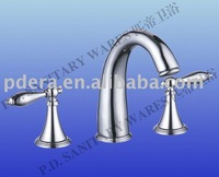 3 hole desk mounted basin faucet. brass body and handles, 5-year warranty