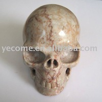 Size:  12.8*8.6*10.3cm  Natural Light Pink Jade Stone Skull     free shipping
