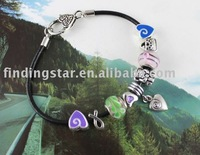 FREE SHIPPING 3PCS European Style Spiral Heart Charm Leather Bracelet #20018