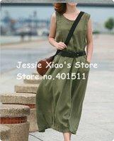 D0066 Green 2011 NEW high quality women's fashion linen patchwork dress