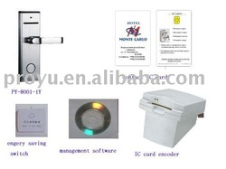 security intelligent contact IC card hotel lock system with card encoder, IC card Siemens 4442 Card (PY-HL kit3)(China (Mainland))