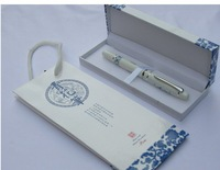 Free Shipping 50sets/lot Upmarket Chinoiserie Blue and White Porcelain Gel Ink Gift Ceramic Pens