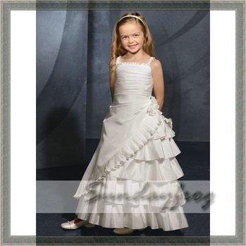 Custom Made A-Line Flower Girl Dresses Floor-length Taffeta Strapless Ruffle First Communion Dress Party Long Dress -FL1