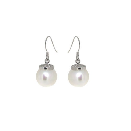 crystal fashion eardrop,White Seashell Pearl Earring Dangle Sterling Silver,3pair/lot,New items(China (Mainland))