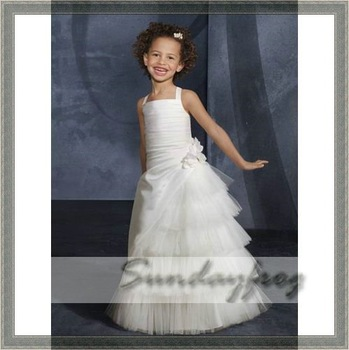 Custom Made A-Line Flower Girl Dresses Floor-length Taffeta Tulle Floral Ruffle Halter First Communion Dress Party Dress -FL4