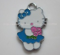 Free Shipping 100Pcs/Lots Zinc Alloy Metal Enamel ' HOLLO KITTY 'Charms Pendants
