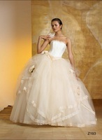 item 678 Free Shipping newest style wedding dress elegant satin organza sleeveless floor-length ball gown wedding gown