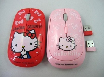 Cartoon Wireless mouse,Hello Kitty wireless mouse, 2011 New, Free shipping, 10pcs/lot, carton mouse with USB, pink and red