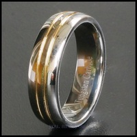 7MM SILVER SOLID TUNGSTEN WEDDING BANDS RING 18K GOLD PLATED SIZE 8# 9# 10# 11# 12# 13#