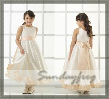 Custom Made A-Line Flower Girl Dress Floor-length Satin Butterfly Tie Back Sash First Communion Dress Wedding Party Dress -FL10