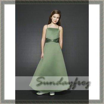 2011 Custom Made A-Line Flower Girl Dress Floor-length Satin Sash Tie Back First Communion Dress Wedding Party Dress -FL19