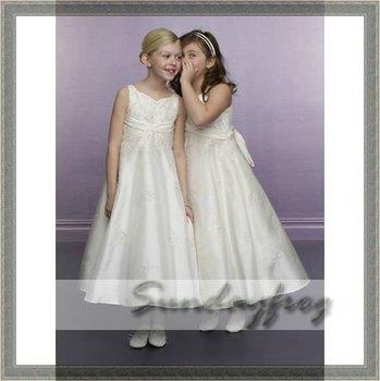 Custom Made A-Line Flower Girl Dress Floor-length Taffeta Tie Back Embroidered First Communion Dress Wedding Party Dress -FL26