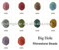 FREE SHIPPING Mixed 10PCS Rhinestone European Bead Charm W/big hole for Charm Bracelet #19785