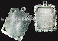 60Pcs Tibetan silver Cabochon Settings Pendant Trays floral rim picture frame A689