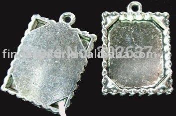 75Pcs Tibetan silver Cabochon Settings Pendant Trays jagged rim picture frame A693(China (Mainland))
