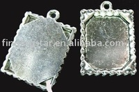 75Pcs Tibetan silver Cabochon Settings Pendant Trays jagged rim picture frame A693