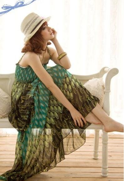 2011 Peacock Chiffon Dress Bohemian skirt fashion Free shipping(China (Mainland))