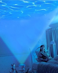 Freeshipping Led Night Light Projector Ocean Daren Waves Projector Projection Lamp With Speaker(China (Mainland))