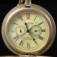 Brand New Antique Syle Pearl Paint Mechanical Wind Up Pocket Watch W/Chain Nice Gift H062