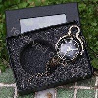 NEW Bronze Tone Crystal ball Necklace Women Ladies Quartz Pocket Watch H050