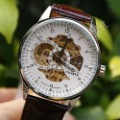 New Skeleton Automatic Mechanical Brown Leather Mens Wrist Watch Xmas Gift A134