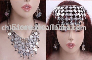 30set/lot Belly Dance India Set of Necklace (Headdress) + Dangle Earrings Womens Dance wear Yuga Accessories free shipping