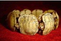 Hand carved 8 Pieces Lucky Turtle netsuke Men`sBracelet shipping free