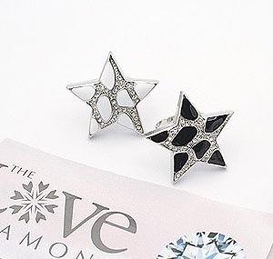 crystals Inlayed five-pointed star Ring .free shipping(China (Mainland))