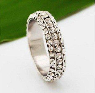 18 K GP brilhante moda anel inlayed 3 linhas de cristal grátis frete(China (Mainland))