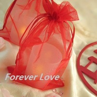 FREE SHIPPING+TRACKING No.--100PCS 10x15cm RED Sheer Organza Wedding Favour Gift Bag