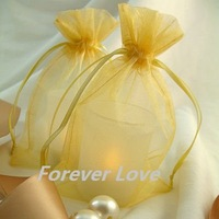 FREE SHIPPING+TRACKING No.--100PCS 10x15cm GLOD Sheer Organza Wedding Favour Gift Bag