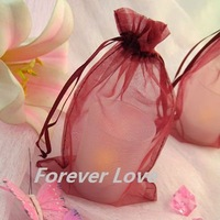 FREE SHIPPING+TRACKING No.--100PCS 10x15cm BURGUNDY Sheer Organza Wedding Favour Gift Bag