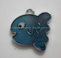 Free Shipping 100Pcs/Lots Zinc Alloy Metal  lovely fish  Enamel ' HOLLO KITTY 'Charms Pendants