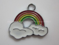 Free Shipping 100Pcs/Lots Zinc Alloy Metal rainbow  Enamel ' HOLLO KITTY 'Charms Pendants