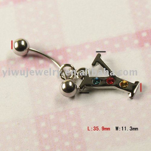 Stainless Steel Fashion Rhinestone Letter Piercing Body Jewelry Mixed Styles 12PCS/Lot Free shipping(China (Mainland))