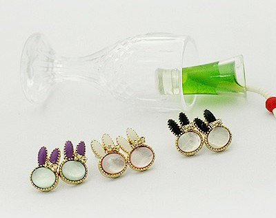FREE SHIPPING Wholesale Cute Cheap Fashion Animal Rabbit Stud Earings Jewelry Earring Stylish Jewellry 6 PAIRS/LOT(China (Mainland))