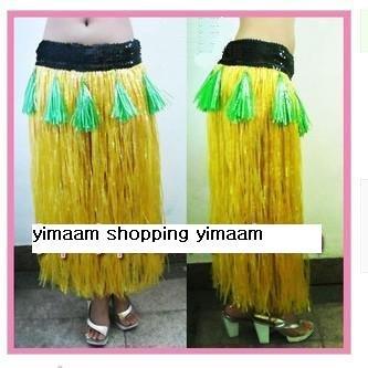 amarelo / Personalidade grama havaiano saia / L80CM * Lantejoula 7cm / Halloween festa a fantasia show de dança traje do partido saia de grama(China (Mainland))