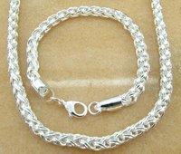 bracelet+nacklace  rope chain 925 Silver 6mm man nacklace+bracelet